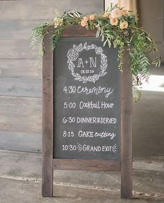 Folding chalkboard sandwich sign - wedding monogram floral wreath - chalk itinerary, schedule of events, timeline