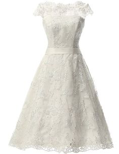 JAEDEN Women's Vintage Lace Wedding Dress Short Bridal Gown Dresses with Sash Ivory US16W