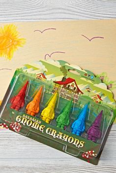 Move over garden gnomes. There's a new set of gnomes in town. These colorful gnome crayons were inspired by classic Bavarian gnomes and are ready to color anywhere.