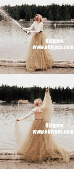 Round Neck Long Sleeve Backless Lace Tulle Country Wedding Dresses, TYP0957