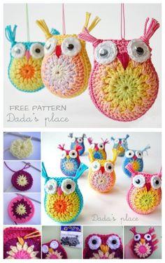 Crochet Amigurumi Pincushion Dada's place: Little crochet owls . would make cute pincushions Owl Crochet Pattern Free, Crochet Owls, Crochet Motifs, Cute Crochet, Crochet Crafts, Free Pattern, Crochet Animals, Crochet Food, Ravelry Crochet
