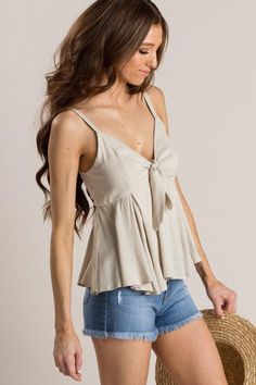 Shop the Coco Taupe Tie Front Peplum Cami - boutique clothing featuring fresh, feminine and affordable styles. Summer Clothes, Summer Outfits, Taupe Color, Fashion Night, Short Shorts, Outfit Goals, Affordable Fashion, Distressed Jeans, Boutique Clothing
