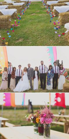 A Glastonbury Themed Bohemian Wedding In Worcestershire With Yurts, Glamping, Food Vans And A Bonfire And Bride In A Floral Crown With Images From Camera Hannah And Event Planning By Jessie Thomson - Wedding Crown Boho Wedding, Wedding Ceremony, Wedding Venues, Dream Wedding, Wedding Day, Elegant Wedding, Hay Bale Wedding, Wedding Music, Wedding Album