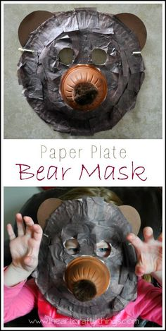 Plate Bear Mask Craft Paper Plate Bear Mask Craft for kids. Kids will love pretending to be a bear in this fun mask. From Paper Plate Bear Mask Craft for kids. Kids will love pretending to be a bear in this fun mask. Bear Crafts, Animal Crafts, Fun Crafts, Paper Crafts, Dinosaur Crafts, Daycare Crafts, Toddler Crafts, Bear Mask, Lion Mask