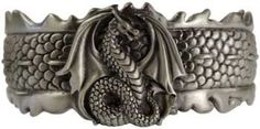 This bracelet features a surface sculpted of dragon scales, crested around the…