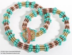 Inspiration: Beaded Rope Designs that Look Great With and Without Pendants: Herringbone Stitch Beaded Rope Necklace