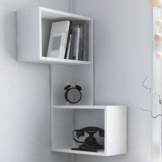 Diy Corner Shelf, Cube Wall Shelf, Unique Wall Shelves, Wall Cubes, Cube Shelves, Hanging Shelves, Display Shelves, Shelving, Corner Shelf Design