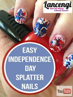 Easy DIY Patriotic Splatter Fourth of July Day Design for Short Nails + video tutorial