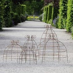 Pretty wire supports for vegetables or flowers by using tomato cages upside down and curling the end wire-: