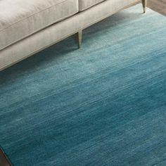Linear Glow Aqua Wool Rug by Calvin Klein Hall Runner, Rug Runner, Calvin Klein Rugs, Rugs On Carpet, Carpets, Wool Rug, Hand Weaving, Glow, Aqua