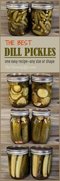 The Best Dill Pickles! An easy recipe for refrigerater pickles or canning whole…The Best Dill Pickles! An easy recipe for refrigerater pickles or canning whole… Canning Tips, Canning Recipes, Easy Canning, Salad Recipes, Homemade Pickles, Pickles Recipe, Best Dill Pickle Recipe, Canning Dill Pickles, Mini Pickles