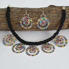 Silver Choker Necklace, Necklace Set, Beatnik, Handmade Jewelry Designs, Rustic Charm, Earring Set, Crochet Necklace, Chokers, Oxidized Silver
