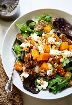 Roasted Onion, Squash and Fig Salad with Maple Mustard Balsamic Dressing | Yummy Beet