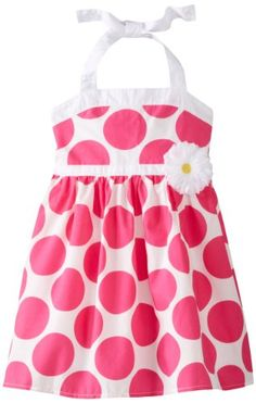 Pinky Pink Little Girls' Polka Dot Halter Sundress, Pink Dot, 6   - Click image twice for more info - See a larger selection girls printed fashion- girls, little girls, kids, kids fashion, girls fashion, girls dress, casual dress, everyday dresses, gift ideas