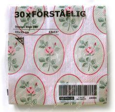 Ikea vintage style elegant rose pink striped paper napkin 33x33cm 3 ply 30pcs