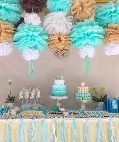 'Ah - tissue' pom poms decorating a WOW mermaid style childrens party. The fine details are just beautiful.