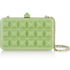 Valentino Studded Perspex clutch (€1.765) ❤ liked on Polyvore featuring bags, handbags, clutches, green, acrylic handbag, lucite handbags, green clutches, studded purse and green handbag
