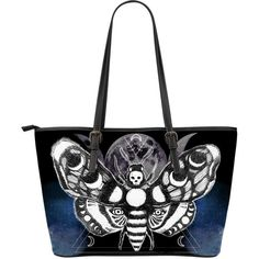 """Moth head - Big artificial leather bag.    Moth head - Big artificial leather bag. $44.95 $89.95  Style MOTH HEAD - BIG ARTIFICIAL LEATHER BAG. Quantity  1  ADD TO CART  Stay up to date with order notifications!  Dead Moth-head bag, trendy and original design by Spirit Nest. Digitally printed on artificial PU leather. Great quality, the perfect statement shoulder bag. Measurements: 17 """" X 11"""" X 6""""/43CM X 28CM X 15CM"""