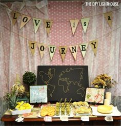 travel themed bridal shower decor | Love is a journey | world travel theme bridal shower ideas