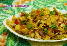 Chatpati Cornflake Chat / Cornflakes Bhel  Snacks time. Come have your share #chat #cornflakeschat #cornflakebhel #bhelchat #spicy_tangy #yummy #drooling Recipe at: www.annapurnaz.in