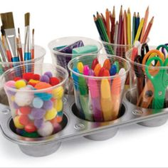 table organizers... would be awesome for art supplies as shown