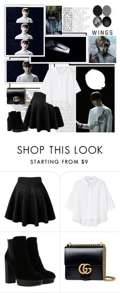 """BTS WINGS Short Film #1 BEGIN"" by ninaxo17 on Polyvore featuring Oris, MANGO, Hogan and Gucci"