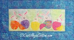 Applique wall hanging for Easter. Hatching Bunnies Quilt Pattern CJC-4573 by Castilleja Cotton - Diane McGregor.  Check out our seasonal patterns. https://www.pinterest.com/quiltwomancom/seasonal-patterns/  Subscribe to our mailing list for updates on new patterns and sales! https://visitor.constantcontact.com/manage/optin?v=001nInsvTYVCuDEFMt6NnF5AZm5OdNtzij2ua4k-qgFIzX6B22GyGeBWSrTG2Of_W0RDlB-QaVpNqTrhbz9y39jbLrD2dlEPkoHf_P3E6E5nBNVQNAEUs-xVA%3D%3D