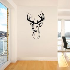 STAGS HEAD DEER trophy antlers steer Giant Wall Sticker Vinyl Art Decal Stencil Window Door Room Decor S M #Affiliate