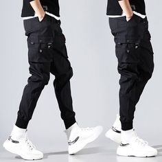 Hip Hop Men Pantalones Hombre High Street Kpop Casual Cargo Pants with Many Pockets Joggers Modis Streetwear Trousers Harajuku Cheap Cargo Pants, Cargo Pants Men, Jogger Pants, Joggers, Sweatpants, Estilo Street, Black Harem Pants, Mode Man, Casual Outfits