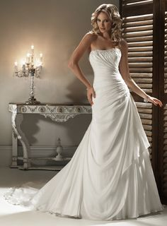A-line Strapless Chapel Train Charming Chiffon with beading wedding dress,angelo wedding dresses