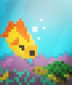 Fish 8 Bit Art, Pikachu, Fish, Fictional Characters, Fantasy Characters