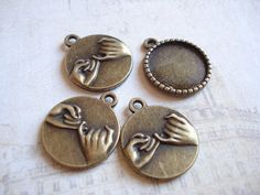 10pcs Forever Cabochon Base Antiqued Brass Inner by yooounique