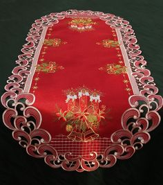 Dark-Red Embroidered Christmas Table cloth Table runner Doily Linen-look Candle Christmas Bells, Winter Christmas, Christmas Ornaments, Christmas Table Cloth, Christmas Decorations, Brother Innovis, Tablerunners, Decoration Table, Doilies