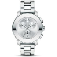 Movado Bold Medium Chronograph Stainless Steel Watch, 38mm ($750) ❤ liked on Polyvore