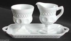 McKee Plymouth Thumbprint Milk Glass Sugar & Creamer w/Tray Set