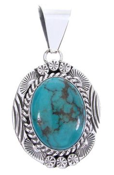 Turquoise and Sterling Silver Native American Pendant PS63829