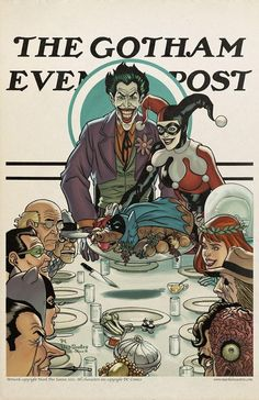 "What if Norman Rockwell lived in Gotham City? Artist Mark Dos Santos takes a stab at the late artist's style by creating different covers for ""The Gotham Evening Post"". Norman Rockwell, Der Joker, Joker Und Harley Quinn, Joker Art, Joker Comic, Comic Book Characters, Comic Books Art, Comic Art, Comic Pics"