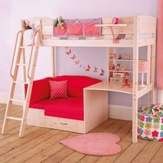 Browse our kids' bunk beds with 5 year warranty and assembly service! Our children's bunk beds come with great storage options and curtains for dens. Cool Loft Beds, Bunk Beds With Stairs, Kids Bunk Beds, Loft Bed With Couch, White Loft Bed, Daybed Couch, Loft Bunk Beds, Bedroom Bed, Girls Bedroom