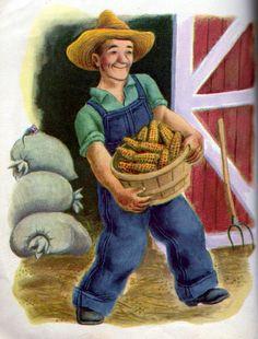 The Jolly Barnyard, Illustrations by Tibor Gergely, Farmer Brown Becoming An American Citizen, Little Golden Books, Ol Days, Good Ol, Love Book, American Artists, Children's Books, Childhood Memories, Farmer