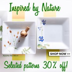 The seasons are changing, and so we have created a selection of nature-inspired patterns. Many of these patterns are 30% off this weekend! Details below in the comments. http://noritakechina.com/leaf-patterns.html
