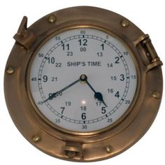Porthole Wall Clock Solid Antique Brass Nautical Ships 9 Inch