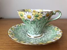 Aynsley Daisy Teacup and Saucer Green Floral Tea Cup and