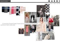 Marni // Pre-fall by Chloe Lennox, via Behance Fashion Portfolio Layout, Portfolio Design, Fashion Sketchbook, Fashion Sketches, Fashion Illustration Collage, Fashion Words, Presentation Layout, Layout Inspiration, Design Development