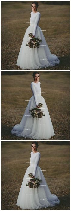 Simple White Long Sleeves Cheap Custom Make Long Wedding Dresses, WG603