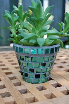 Growing Green   Glass Mosaic Flower Planter with by 2ndCycle, $11.00