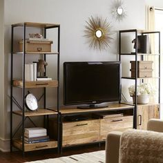 Furniture. Trendy Industrial Bookcase Designs. Industrial Iron Wood Bookcase Featuring Rustic Living Room Decor And Wood Flooring