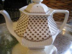 vintage tea pot /  Teapot  floral white brown tea set  Adams sharon ironstone Vintage Tea, Vintage Shops, Tea Pots, Brown, Tableware, Floral, Ebay, Shopping, Dinnerware