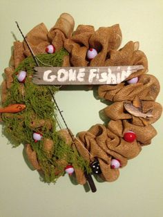 Mesh wreath for the fisherman in the family by Giftsattheheart, $75.00