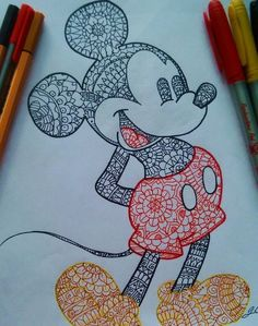 Ideas For Disney Art Painting Ideas Mickey Mouse Disney Art Drawings, Disney Drawings, Sketch Book, Art Drawings, Mandala Design Art, Art Projects, Mickey Mouse Art, Cute Drawings, Doodle Drawings