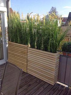 brise-vue balcon naturel en graminées ornementales en bacs de bois